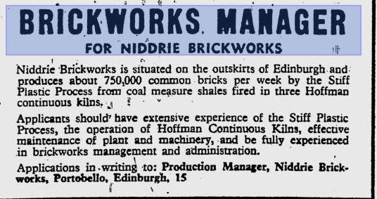 Niddrie brickworks manager Glasgow Herald 03-03-1969