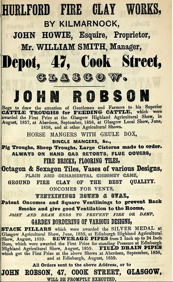 1861 Advert Hurlford Fireclay Works, Kilmarnock