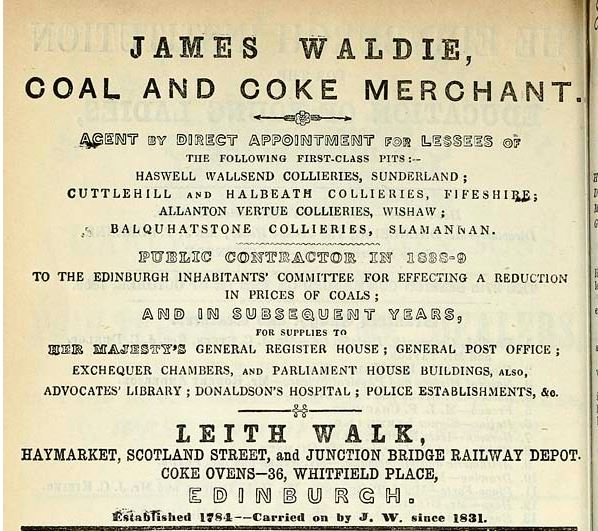 1861 advert James Waldie, Leith Edinburhg