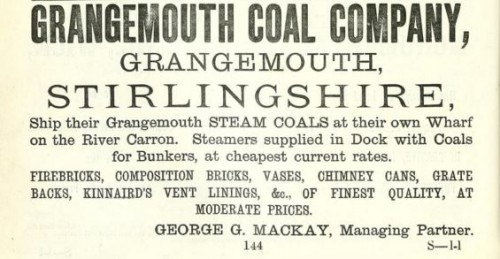 1878 advert Grangemouth Coal - brickmaker