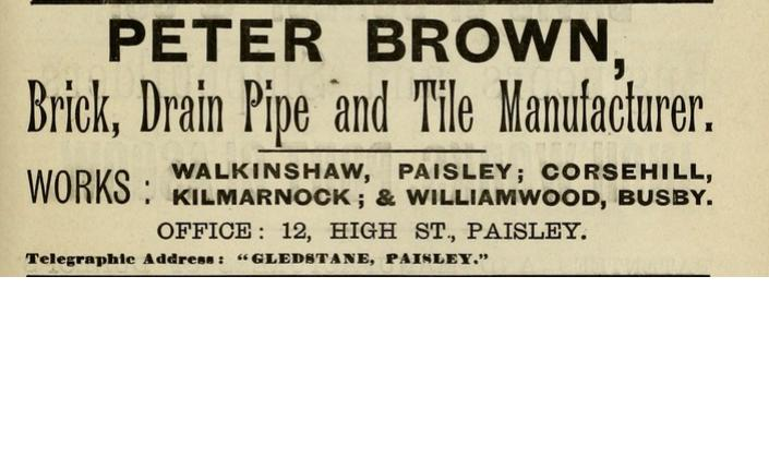 Advert - Peter Brown Walkinshaw, Corsehill and Williamwood. Gledstane