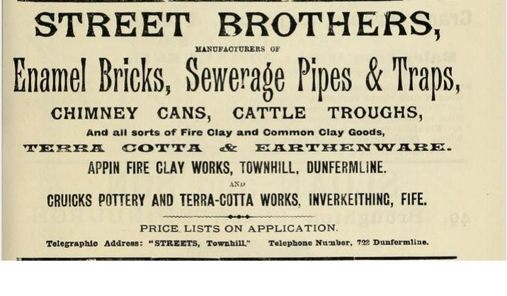 Advert - Street Brothers Appin Fire Clay Works Townhill Dunfermeline