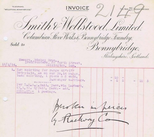 Smith and Wellstood invoice 2