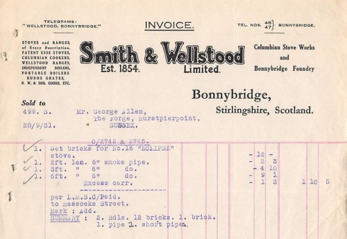 Smith and Wellstood invoice