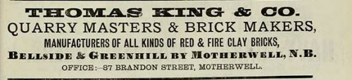 Thomas King Bellside Greenhill Motherwell 1886
