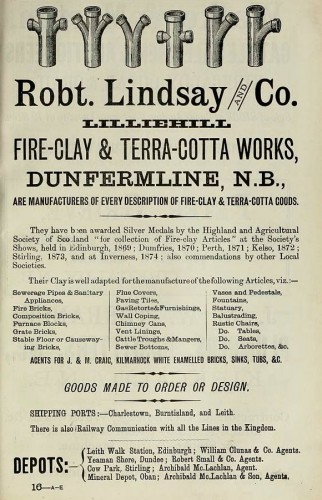 robert lindsay fire clay and terracotta works dunfermline 1886