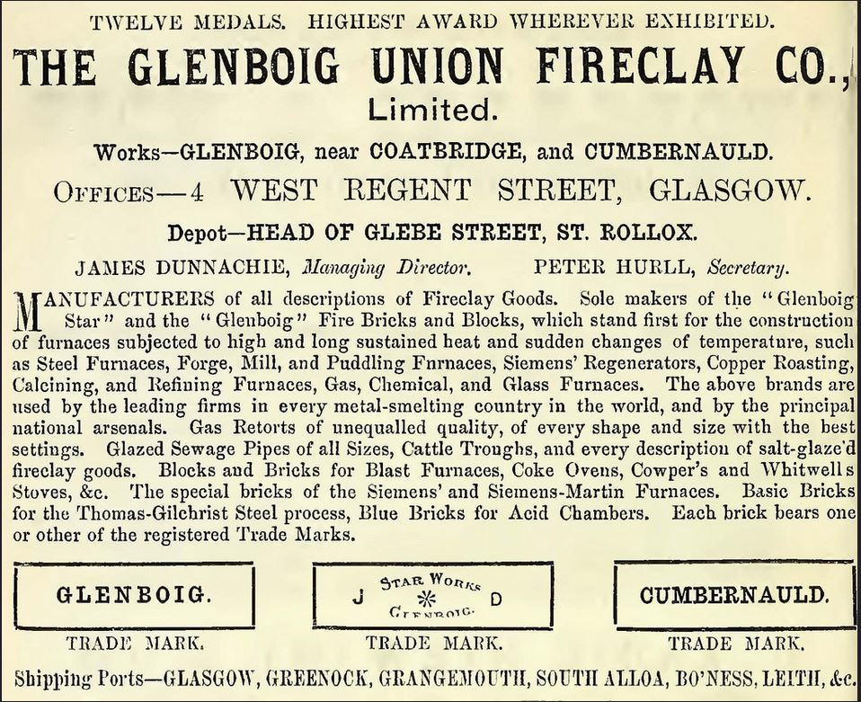 1883 The Glenboig Union Fireclay Co Limited, 4 West Regent Street, and Glebe Street, St Rollox, Glasgow