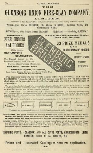 1893 - Advert Glenboig Union Fire clay Company