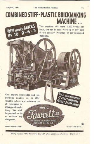 Fawcett Whitehouse Works Hunslet Leeds Brick Making Machine 1947