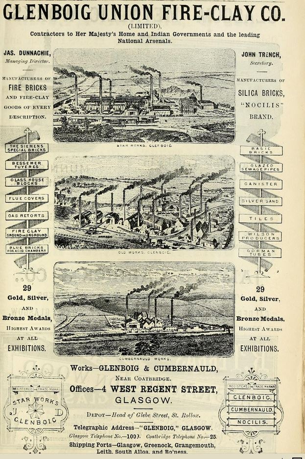 Glenboig Advert 1890 - 91 - James Dunnachie Managing Director. John Trench - Secretary. Nocilis Silica bricks