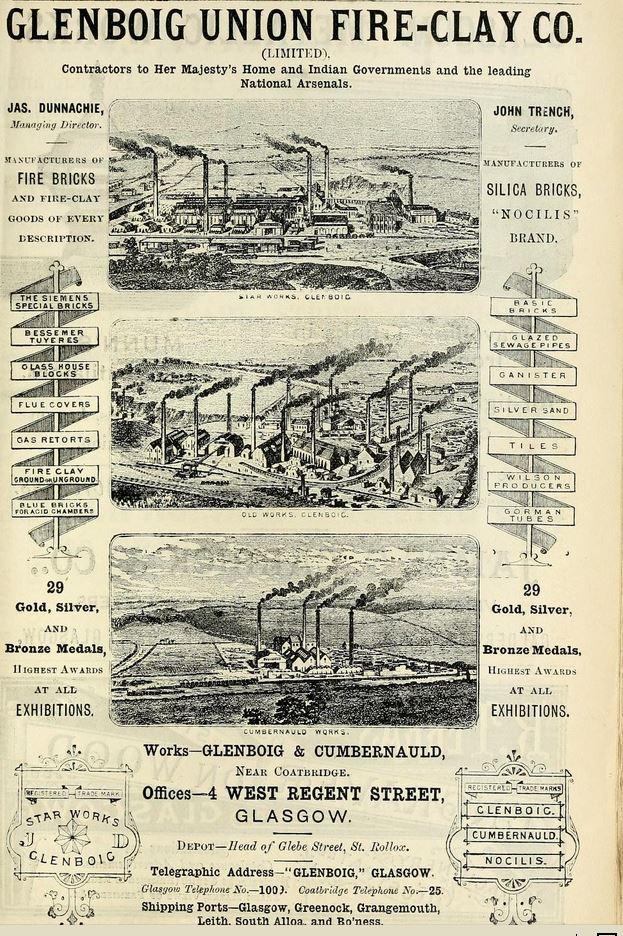 Glenboig Advert 1890 - 91 - James Dunnachie Managing Director. John Trench - Secretary. Nocilis Silica bricks