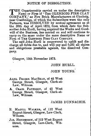 Glenboig Hurll THE EDINBURGH GAZETTE, DECEMBER 26, 1873.