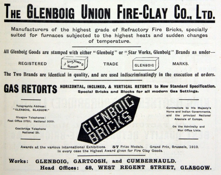 Glenboig advert February 1913