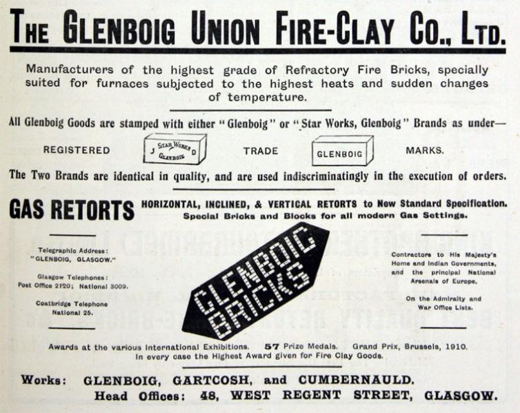 Glenboig advert February 1913