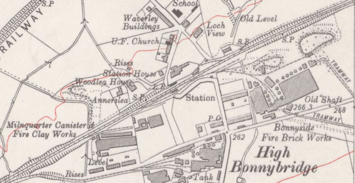 Below - OS Map C. 1913 - Bonnyside Brick Works