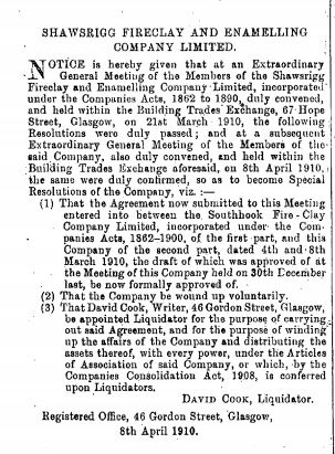 The Edinburgh Gazette 12-04-1912. Southhook and Shawsrigg Enamelling Company