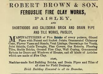 1869 advert Robert Brown Ferguslie fireclay works, Paisley