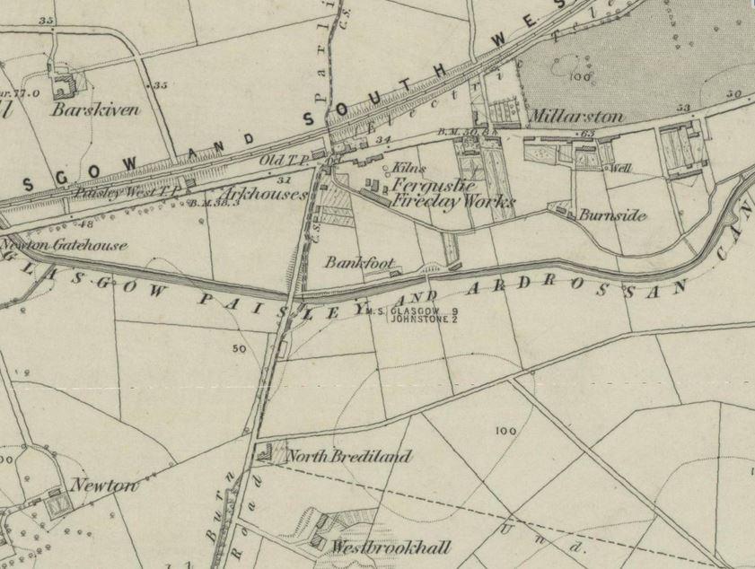 Below - OS Map 1858 - Ferguslie Fireclay Works, Paisley