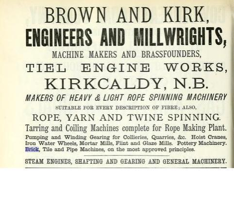 Brown & Kirk Kirkcaldy Brick Tile & pipe machinery advert