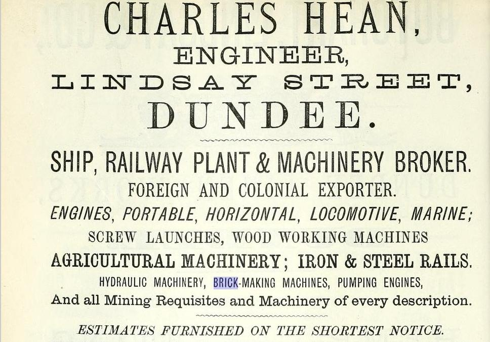 Charles Hean Dundee Brick making machinery advert