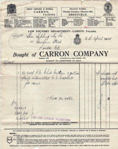Carron company invoice 2