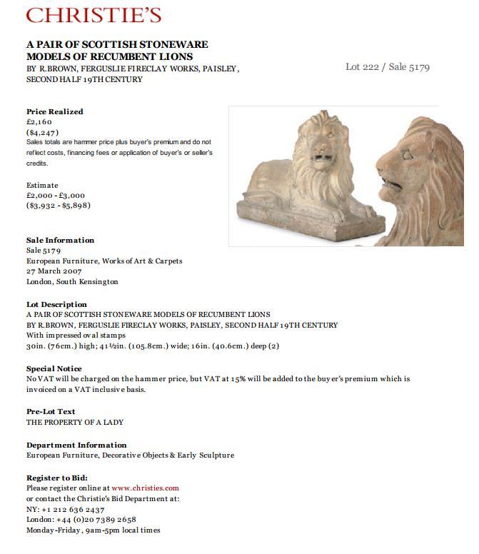 Ferguslie stoneware lions
