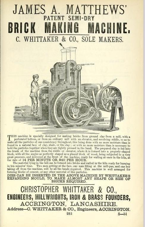 James Matthews brick making machine Lancashire advert