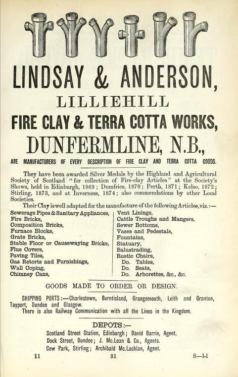 1878 Scottish Brick Manufacturers Adverts Scotland S