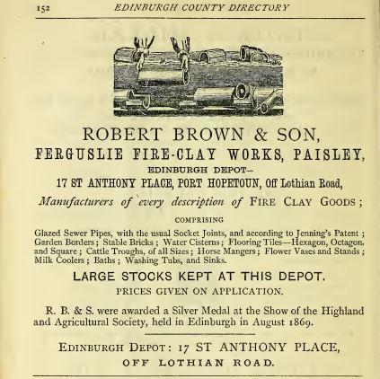 Robert Brown & Son advert. 1870