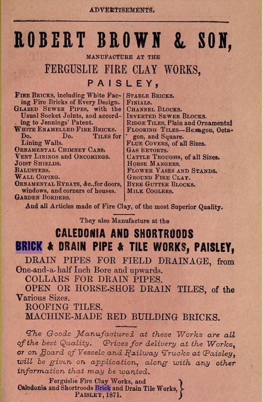 Robert Brown & Sons Ferguslie Fire Clay Works, Paisley advert 1871 - 1872