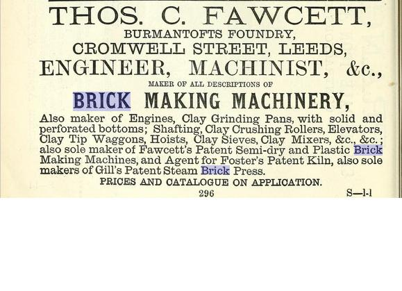 Thomas Fawcett Brick Machine Maker Leeds advert