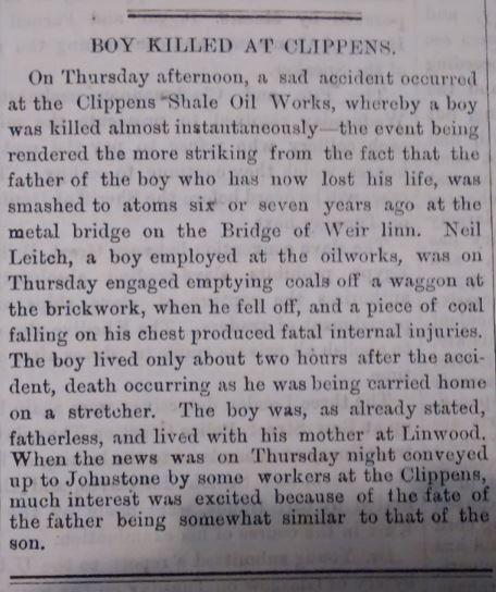 boy killed at Clippens 18/08/1877