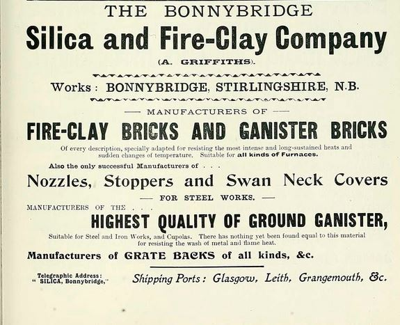 Bonnybridge Silica and Fireclay Co Advert 1903