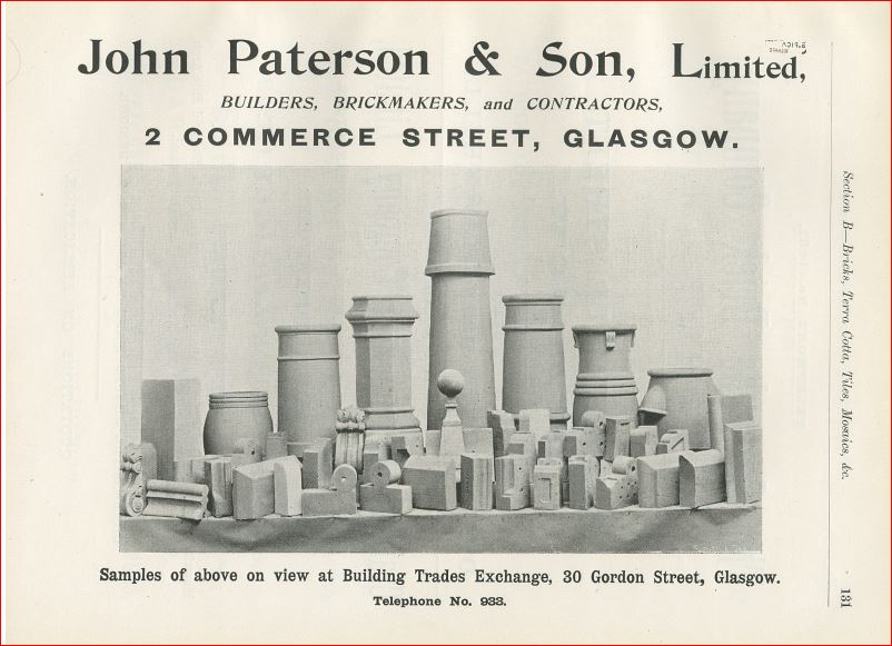 John Paterson & Sons advertisement, Glasgow Building Trades Exchange, 1896, p. 131