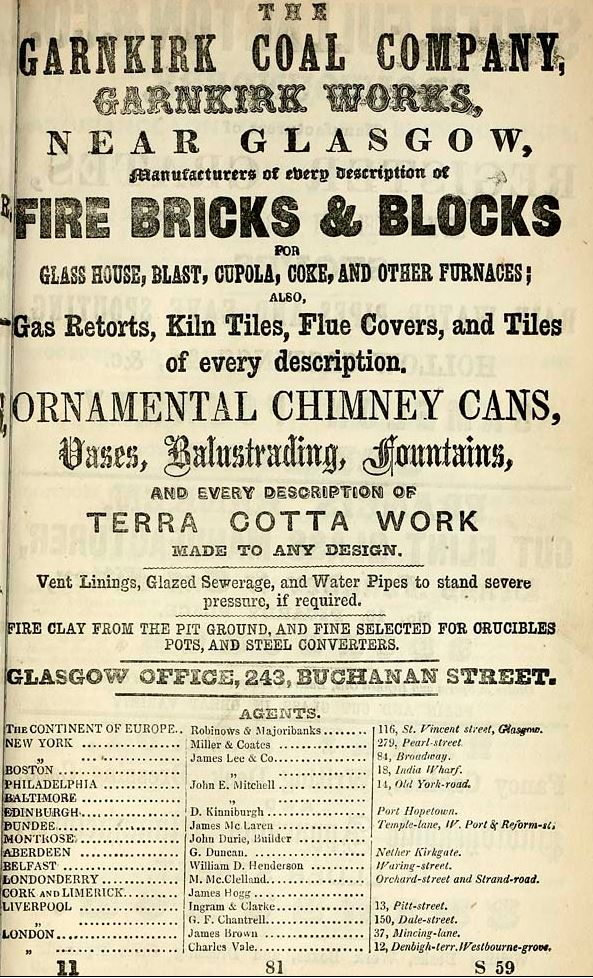 1861 advert Garnkirk Coal Company and brickworks Glasgow