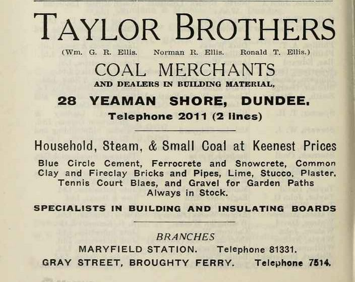 1939 advert Taylor Brothers Dundee
