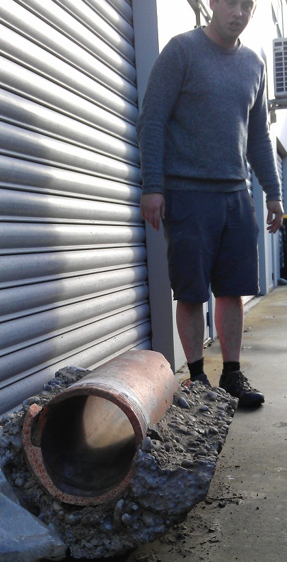 Hamish Williams smaller and Lancashire 1880s sewer pipe from Colombo St found in New Zealand