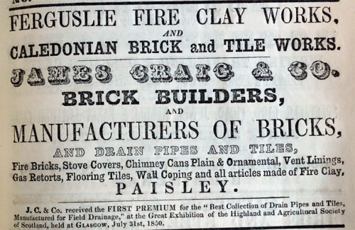 James Craig and Co Brick Manufacturer Ferguslie and Caledonia Works advert