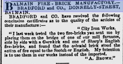 Sydney Morning Herald 14-07-1866 - Reference to Garnkirk bricks
