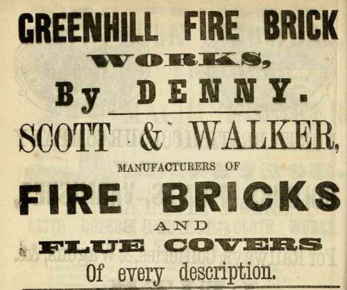 1867 GREENHILL FIRE BRICK WORKS DENNY Scott and Walker