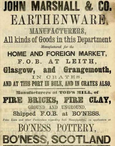 1867 marshall Bo'ness Pottery