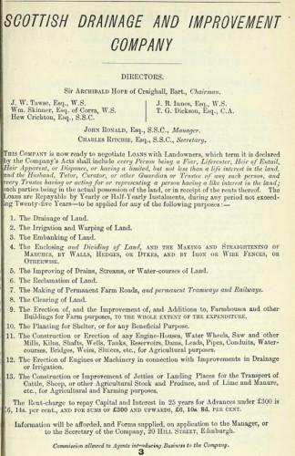 1875 advert Scottish Drainage and Improvement Scheme