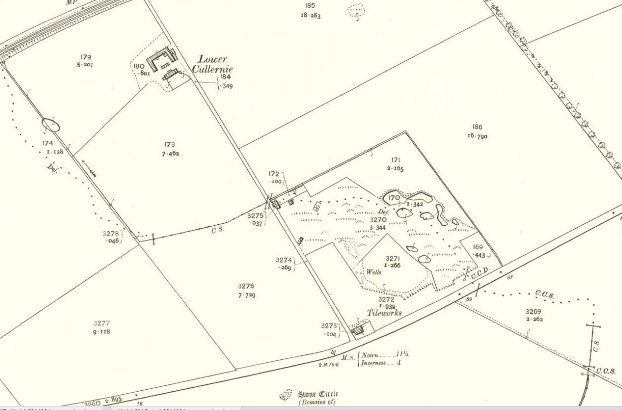 Below OS Map 1905 - Culloden brickworks