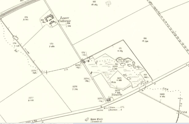 Below OS Map 1905 - Culloden brickworks