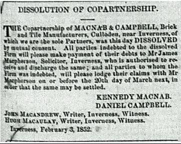 Dissolution McNab and Campbell 1852