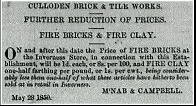 Price reduction Culloden brickworks 1850