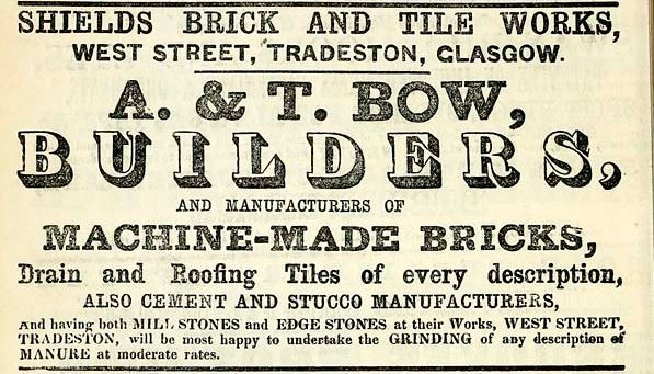 1861 Advert A & T Bow Shields Brickworks Glasgow