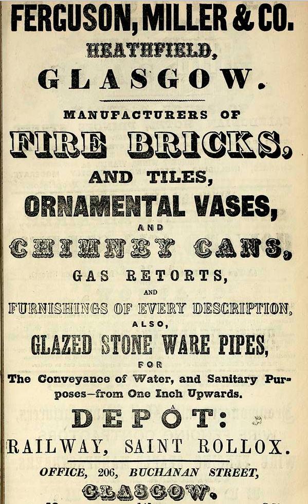 1861 Advert Ferguson and Miller Heathfield Glasgow