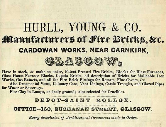 1861 advert Hurll and Young Cardowan Garnkirk