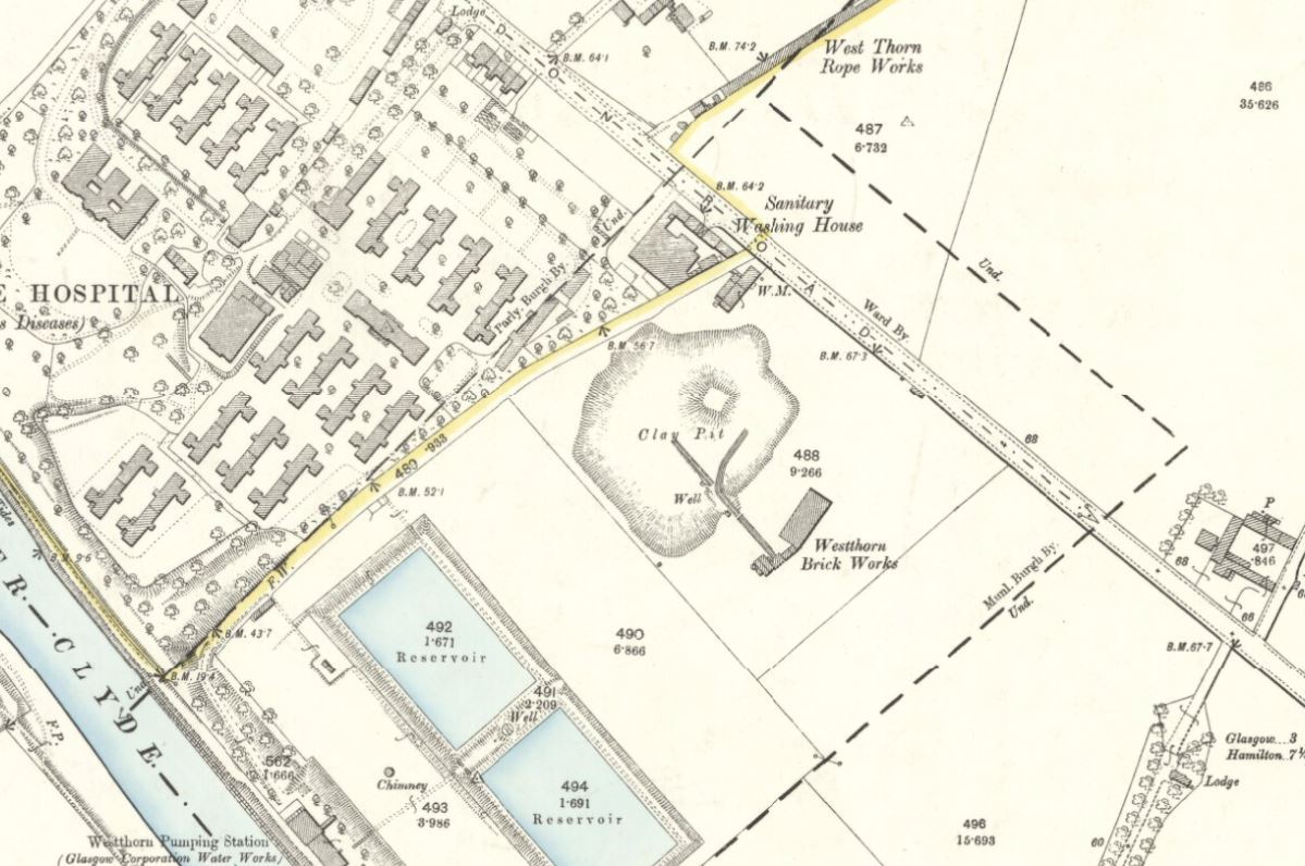 Below - OS Map 1892 - Westthorn Brick Works, Glasgow